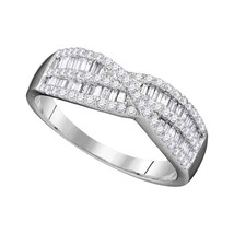 10k White Gold Round Baguette Diamond Woven Crossover Band Ring 5/8 Cttw - £266.24 GBP
