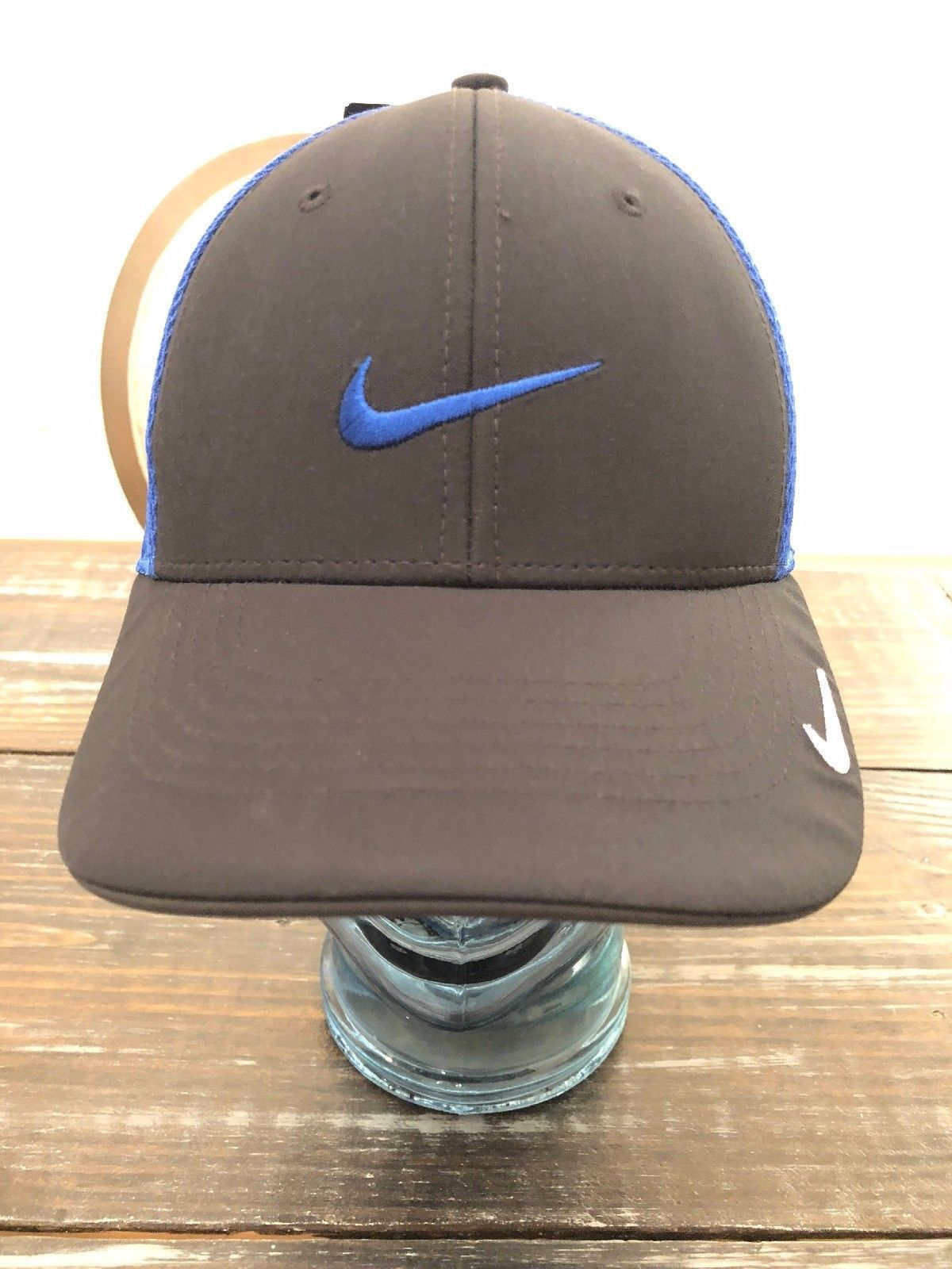 NIKE GOLF LEGACY91 TOUR MESH SWOOSH FITTED HAT CAP - Black&Blue Mens Size S/M