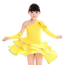 Girls Latin Costume Performance Dress With Gloves YELLOW (120CM Height) - $31.65
