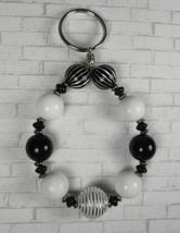 Striped Beaded Handmade Keychain Bracelet Split Key Ring Black White Sil... - $16.48