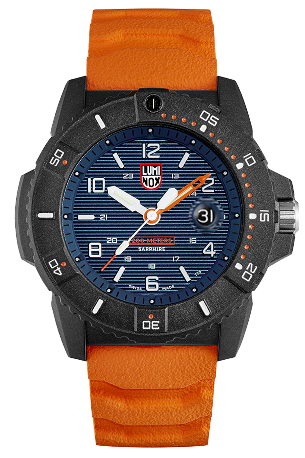 Luminox 3603 Navy Seal Men's Orange Rubber Strap Blue Dial 45mm Case Watch