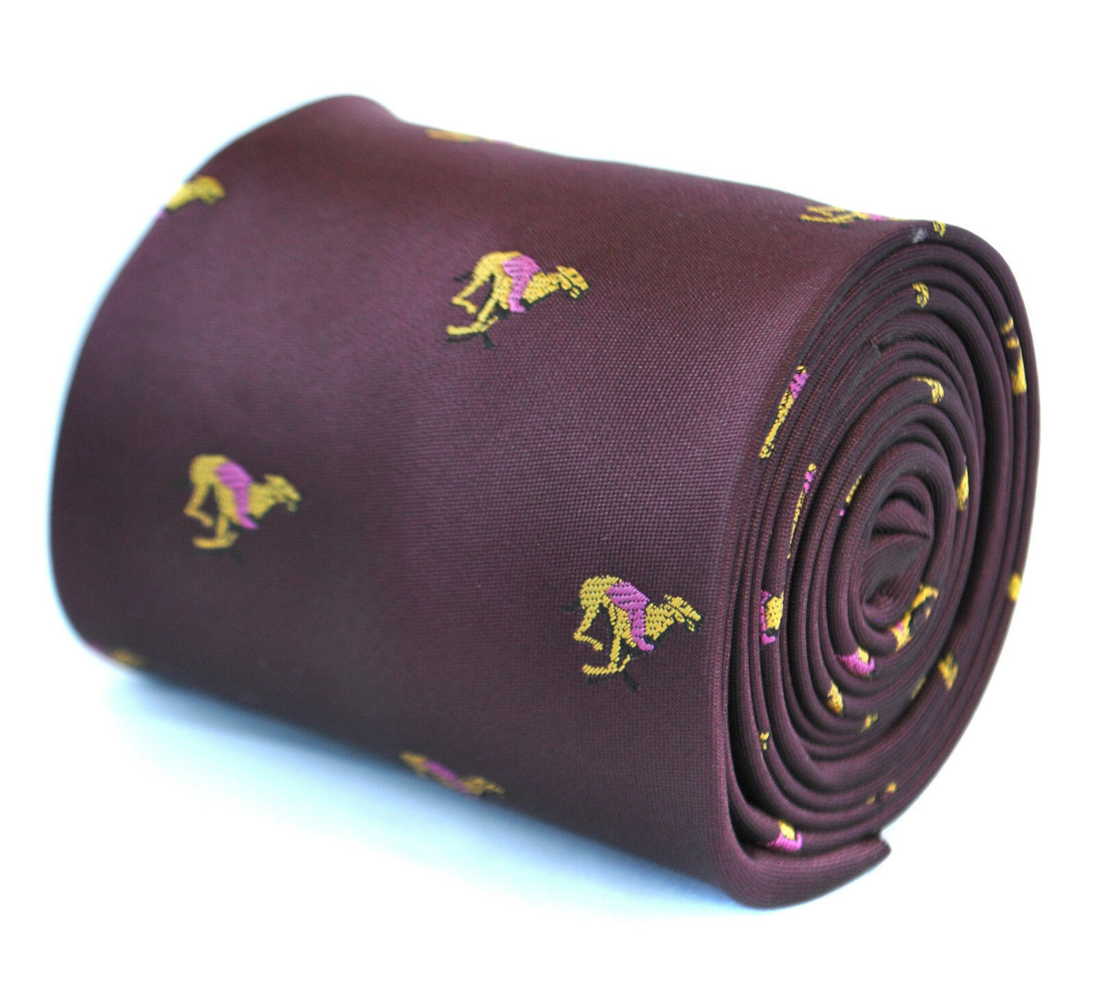 Frederick Thomas Designer Mens Tie - Burgundy Maroon - Embroidered Greyhound Dog