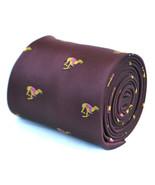 Frederick Thomas Designer Mens Tie - Burgundy Maroon - Embroidered Greyh... - $18.77