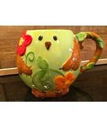 Pier 1 Imports Green Bird Hand Painted Large 20oz. Coffee Mug - $18.99