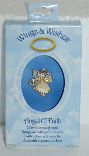 DM Merchandising Wings Wishes Angel Faith Gold Colored Holding Cross
