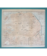 "1899 MAP by Baedeker 8.5 x 10"" - USA San Francisco City Plan + Railraods - $16.20"