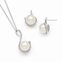 STERLING SILVER  WHITE  10 - 12 MM CZ AND SHELL PEARL EARRING NECKLACE S... - $162.67