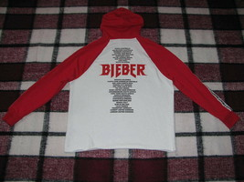 JUSTIN BIEBER Stadium Tour Hoodie Men's size S Red and White H&M DIVIDED - $28.49