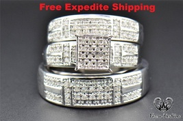 Diamond 925 Silver White Gold Plated Trio His Her Bridal Band Wedding Ring Set - $163.54