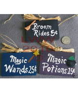 3 Small Witch-oriented Handmade Halloween Wood Signs - $12.99