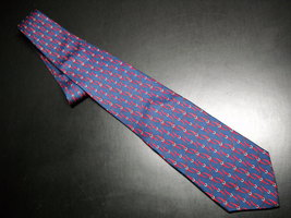 Brooks Brothers Makers Neck Tie Silk Printed in Italy Blue with Red Colors - $11.99