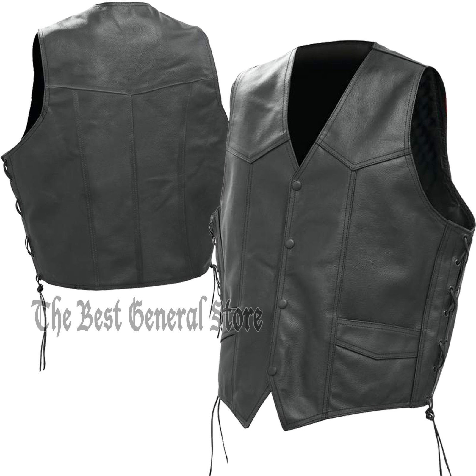 Mens Black Solid Genuine Leather Vest Waistcoat with Laced Sides, Lined, 4 snaps