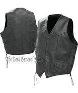 Mens Black Solid Genuine Leather Vest Waistcoat with Laced Sides, Lined,... - $29.99