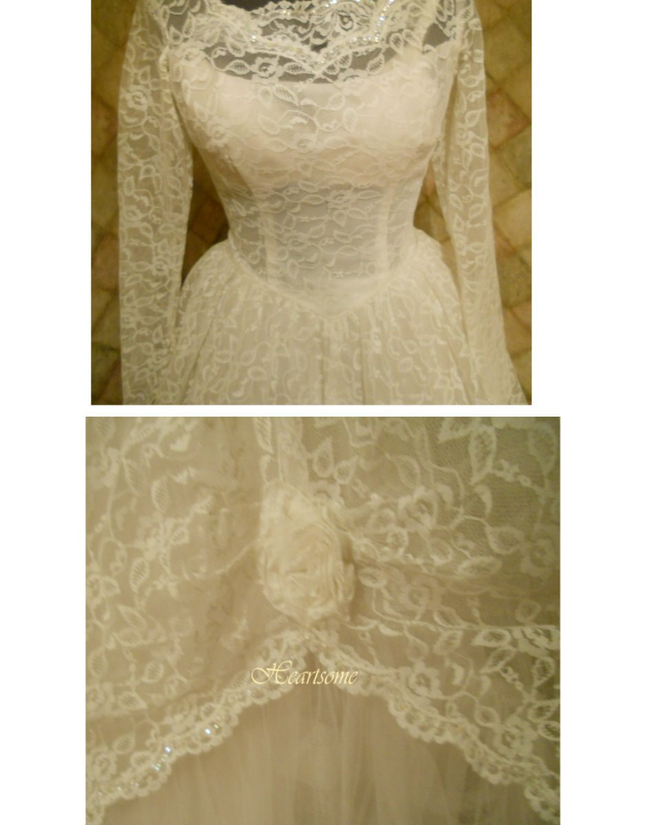 Vintage 50's wedding dress gown lace tulle fairy tale tiered bustles white