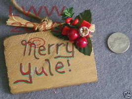 Small Gold-colored Merry Yule Sign Handmade NEW - $4.99