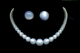 White Moonglow Acrylic Round Bead Beaded Vintage Choker Necklace Earring Set - $29.69