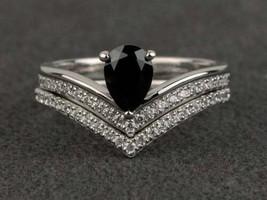 14K White Gold Finish 2.50 Ct Pear Cut Black Diamond Engagement Bridle R... - $189.99