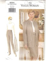 Vogue Woman 9294 Jacket Skirt Pants Loose-fitting Sewing Pattern 20-24 - $12.86