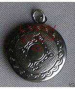 Round Dark Pewter-tone Necklace Locket Pendant Charm - $3.99