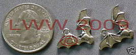 2 Halloween Flying Bats Metal Necklace Pendant Charms - $3.99