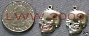 2 Halloween Skeleton Skull Metal Necklace Pendant Charm  Bonanza