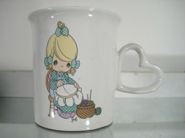 """Mother Sew Dear"" Precious Moments Mug Heart Handle Enesco 1995 - $8.99"