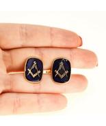 Vintage 9ct gold Masonic Cufflinks Blue Enamel compass freemasonry UK BHS - $445.61