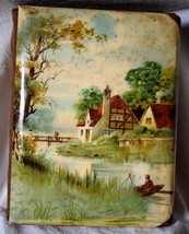 PHOTO ALBUM Hard Cover Fabric Binding House & Boating Scene  vintage - $29.69