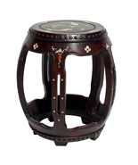 Chinese Brown Huali Wood Mother of Pearl Inlay Barrel Shape Stool cs4211 - $1,380.00
