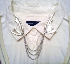 Dragon Wing Collar Pins Silver Bat Wing Sweater Clips Steampunk Collar C... - $56.00