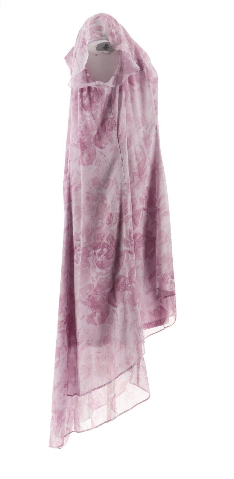 H Halston Petite Rose Print Cap Slv Hi-Low Dress French Lilac 24P NEW A303199 image 4