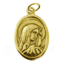 VIRGIN Mother MARY of Jesus Christ 24K Gold PLTD on silver 925 Charm Pra... - $16.27