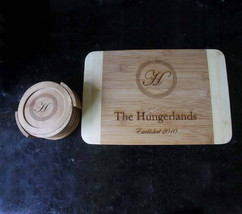 Personalized cutting board coaster set, engraved cutting board, couple g... - $58.00