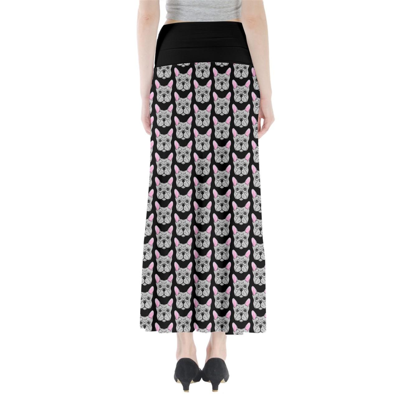 Women's Funny French Bulldog Dog Printed Stretchy Fit Maxi Skirt (XS-3XL, Black)