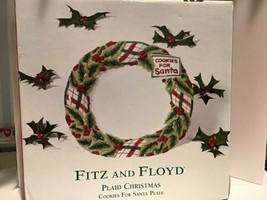 Fitz & Floyd Plaid Christmas Cookies for Santa Plate Tray Platter NIB - $15.95