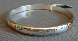 New w/ Tag Brighton Venezia Bangle Bracelet Two Tone Etched Scroll Work! - $27.99