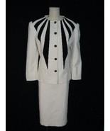 VTG LILLI ANN BLACK WHITE ULTRASUEDE SUIT AVANT GARDE M - $39.99