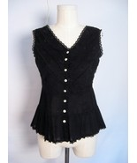 CHAUDRY BLACK BATISTE LACY EMBROIDERED BOHO CAMI TOP S - $9.99