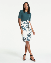 Ann Taylor Leaves Tie Waist Linen Pencil Skirt, Green/Ivory, Lined, Size... - $98.00