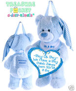 Blue Treasure Pocket Keepsake Bear a-door-nimal - $18.00