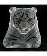 "Mats Jonasson Tiger Sculpture 6"" Crystal Paperweight Royal Krona 3146 - $57.42"