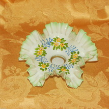 ANTIQUE RUFFLED GLASS TAPER CANDLE HOLDER WHITE GREEN HAND PAINTED FLOWERS - $20.80