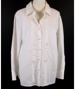 SIGRID OLSEN Size 20W White Pintucked Pearl Button Shaped Shirt Blouse - $21.99