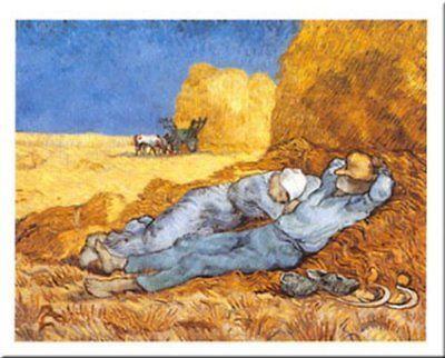 La Siesta by Vincent Van Gogh 28x20 Museum Art Print Poster