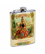 Vintage Cigar Box Poster D7 Flask 8oz Stainless Steel Hip Drinking Whiskey - $13.81
