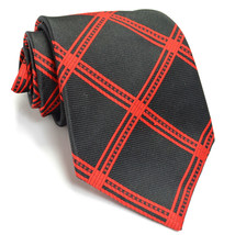 WEMBLEY 53L Vintage Black Red Check Mens Neck Tie - $59.39