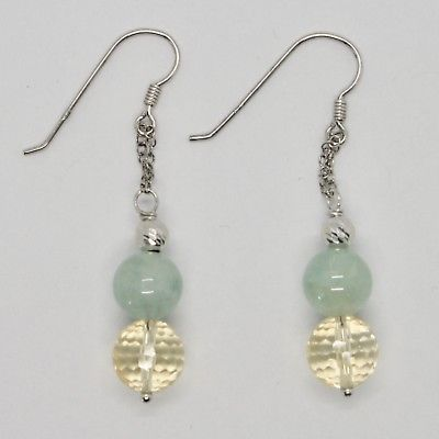 EARRINGS SILVER 925 RHODIUM HANGING WITH QUARTZ CITRINE AQUAMARINE GREEN