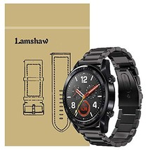 for Huawei Watch GT Band, Lamshaw Stainless Steel Metal Replacement (Black) - $25.41
