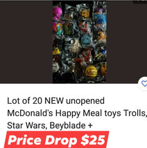 Lot of 20 NEW unopened McDonald's Happy Meal toys Trolls,Star Wars, Beyblade+++ - $25.00