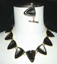 VTG Gold Tone 1980s Molded Triangle Metal Necklace & Bracelet Set Toggle... - $39.60